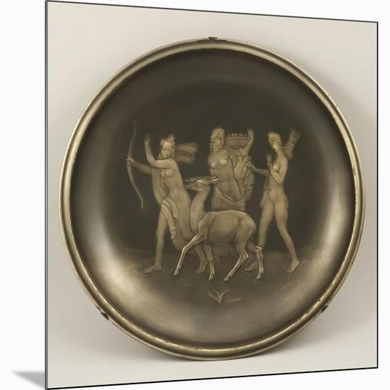 Chiselled Silver Plate Depicting Mythological Scene with Diana the Hunter-Cornelio Ghiretti-Mounted Giclee Print