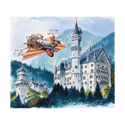 Chitty Chitty Bang Bang Passes by Neushwanstein in the Bavarian Alps-Dan Escott-Giclee Print
