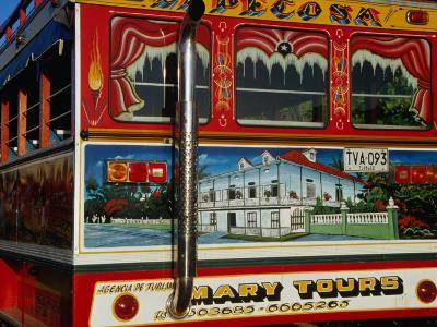 Chiva Traditional Colombian Bus with Wooden Painted Body, Cartagena, Bolivar, Colombia-Krzysztof Dydynski-Photographic Print