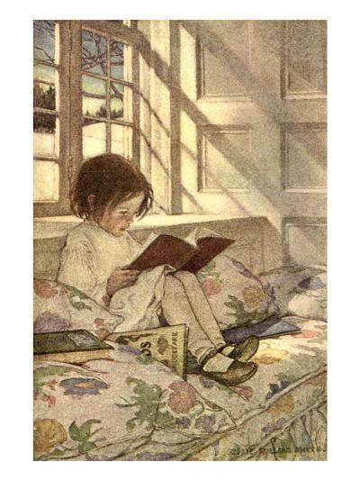 Chlld Reading on Couch, 1905-Jessie Willcox-Smith-Giclee Print