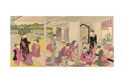 Women Viewing Scroll Paintings of the Gods of Good Fortune
