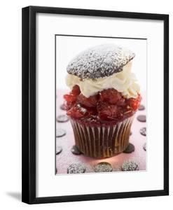 Chocolate Cherry Muffin with Whipped Cream and Lid