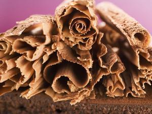 Chocolate Curls on Chocolate Cake