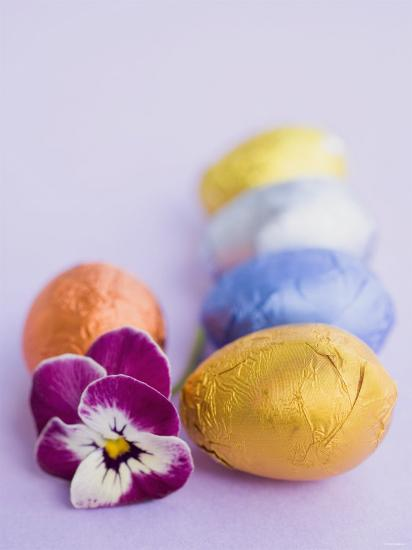 Chocolate Eggs in Foil, with Pansy--Photographic Print