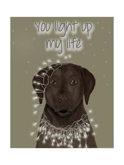 Chocolate Labrador, You Light Up-Fab Funky-Art Print