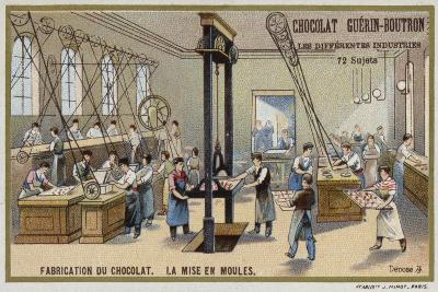 Chocolate Manufacturing. Putting Chocolate into Moulds--Giclee Print