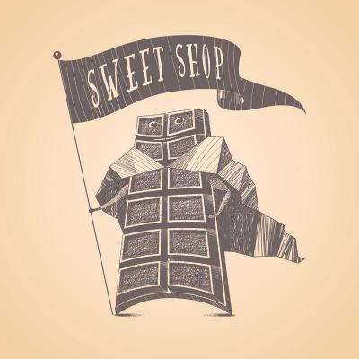 Chocolate Shop Sweets Store Vector Logo Icon Symbol Emblem. Cute Hand Drawn Funny Graphic Design El-Darth Vector-Art Print
