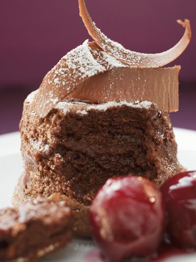 Chocolate Soufflé with Chocolate Curls and Cherries--Photographic Print