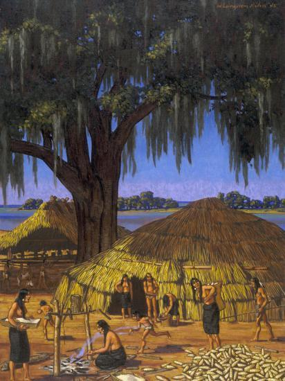 Choctaws in Louisiana Bayou Country Harvest Corn-W. Langdon Kihn-Photographic Print