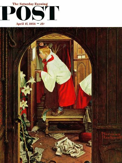 """""""Choirboy"""" Saturday Evening Post Cover, April 17,1954-Norman Rockwell-Giclee Print"""