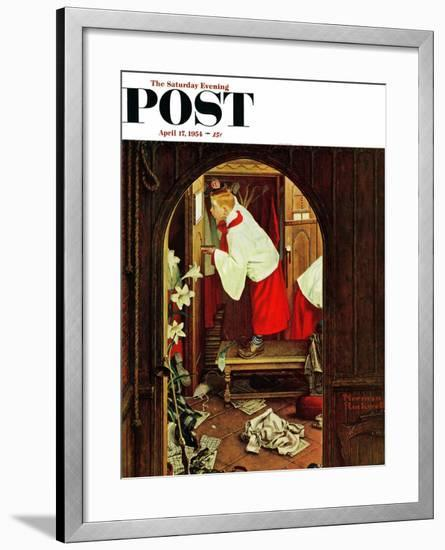 """""""Choirboy"""" Saturday Evening Post Cover, April 17,1954-Norman Rockwell-Framed Giclee Print"""