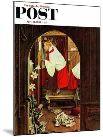 """Choirboy"" Saturday Evening Post Cover, April 17,1954-Norman Rockwell-Mounted Giclee Print"