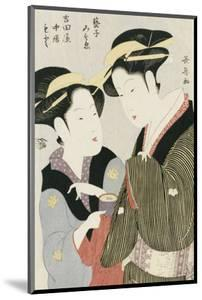 Double Half-Length Portrait of Moto, a Maidservant of the Yoshidaya, and the Geisha Mizue by Chokosai Eisho