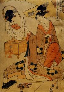 Kiyomori's Daughter Painting Her Portrait to Send to Her Mother by Chokosai Eisho