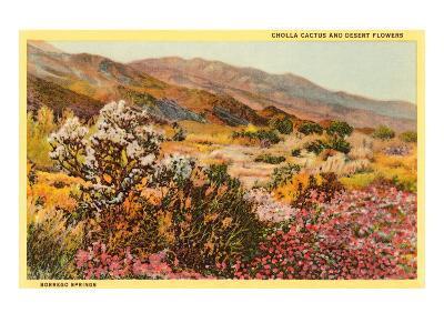 Chollas and Wildflowers, Borrego Springs, California--Art Print