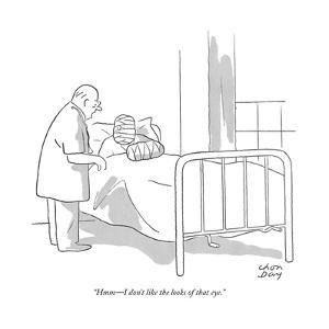 """Hmm?I don't like the looks of that eye."" - New Yorker Cartoon by Chon Day"