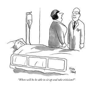 """""""When will he be able to sit up and take criticism?"""" - New Yorker Cartoon by Chon Day"""
