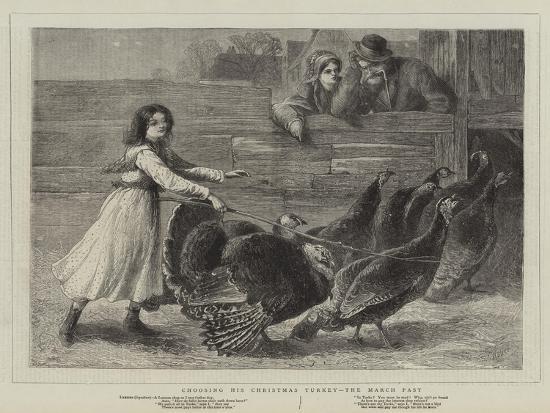 Choosing His Christmas Turkey, the March Past-Samuel Edmund Waller-Giclee Print
