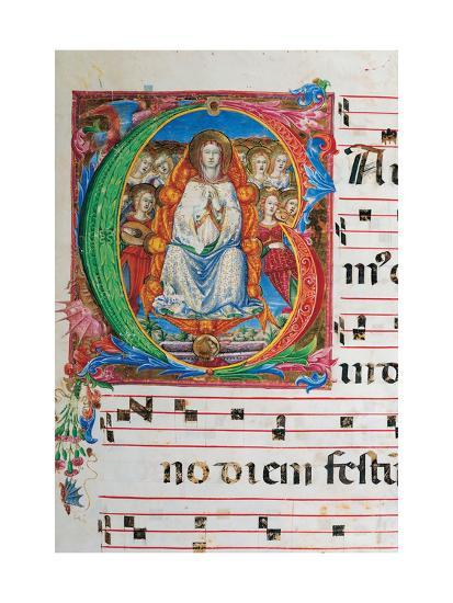 Choral part of the Mass, illuminated manuscript, 15th c. Osservanza Basilica, Siena, Italy--Art Print