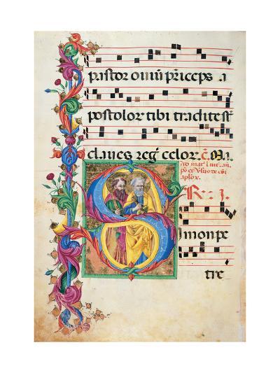 Choral response for religious services, illuminated manuscript, 14th c. Osservanza Basilica, Siena--Art Print