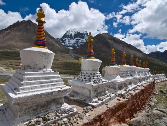 Chortens, Prayer Stupas Below the Holy Mountain Mount Kailash in Western Tibet, China, Asia-Michael Runkel-Photographic Print