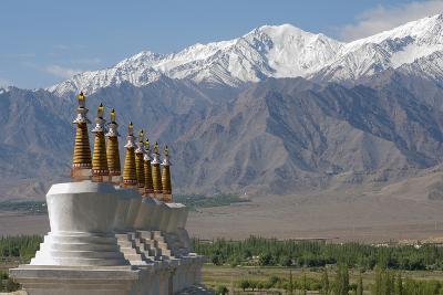 Chortens with Gold Spires Overlooking a Valley, Ladakh, India-Ellen Clark-Photographic Print