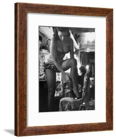 Chorus Girl Singer Linda Lombard, Backstage Getting Ready For Show-George Silk-Framed Premium Photographic Print