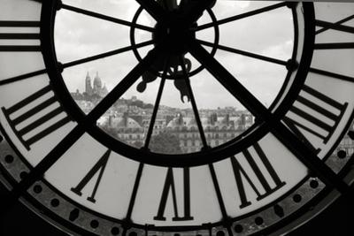 Big Clock Horizontal Black and White by Chris Bliss