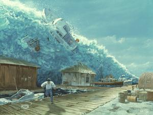Artwork of a Tsunami Destroying a Small Harbour by Chris Butler