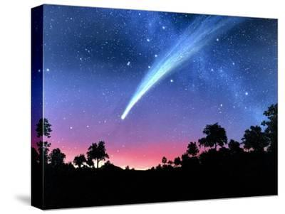 Artwork of Comet Hale-Bopp Over a Tree Landscape