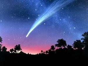 Artwork of Comet Hale-Bopp Over a Tree Landscape by Chris Butler