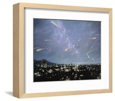 Artwork of Meteor Shower Over a City