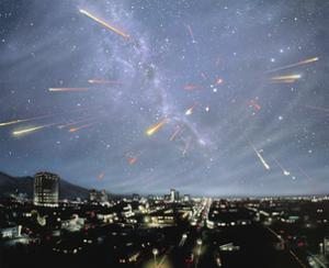 Artwork of Meteor Shower Over a City by Chris Butler