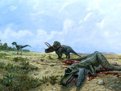 Artwork of Tyrannosaurus & Triceratops Dinosaurs by Chris Butler
