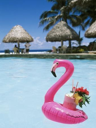 Cook Islands, South Pacific, Rarotonga, Tropical Drink in Pink Flamingo Float