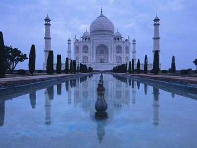 India, Uttar Pradesh, Agra, Taj Mahal, Built by Shah Jahan, Completed 1653 with Reflection in Pond