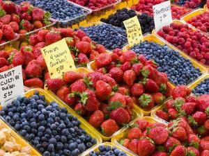 Jean Talon Market with Fresh Berries on Display, Montreal, Quebec, Canada by Chris Cheadle