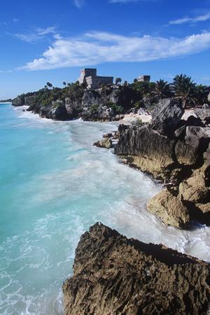 Mexico, Yucatan Peninsula, Carribean Sea at Tulum, the Only Mayan Ruin by Sea
