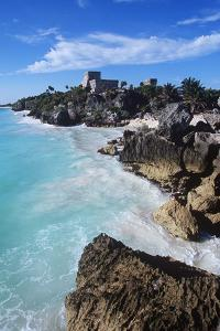 Mexico, Yucatan Peninsula, Carribean Sea at Tulum, the Only Mayan Ruin by Sea by Chris Cheadle