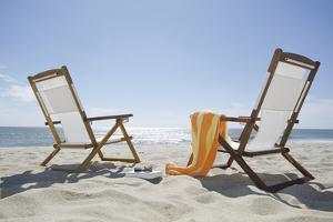 Usa, Massachusetts, Nantucket Island, Sun Chairs on Sandy Beach by Chris Hackett