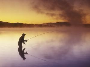 Fly-fishing at Dawn on 108 Mile Lake, British Columbia, Canada. by Chris Harris