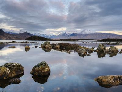 Snow Covered Mountains, Lochan Na H Achlaise, Rannoch Moor, Argyll and Bute, Highlands, Scotland