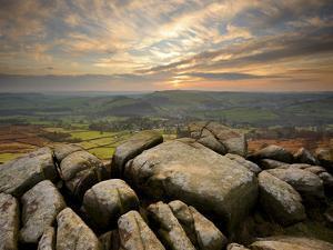 Sunset over Baslow, Curbar Edge, Peak District National Park, Derbyshire, England, United Kingdom,  by Chris Hepburn