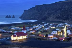 Twilight View across the Small Town of Vik, South Iceland, Iceland, Polar Regions by Chris Hepburn