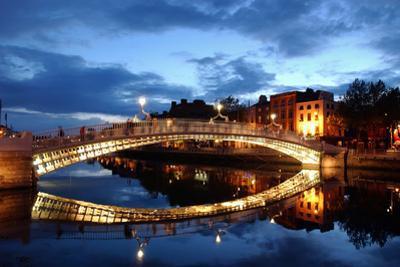 Ha' Penny Bridge over the River Liffey in Dublin, Ireland by Chris Hill