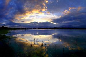Sunset on the River Shannon at Clonmacnoise in County Offaly, Ireland by Chris Hill