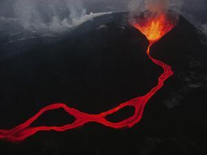 This Active Fissure Spewed Lava and Created Molten Rivers in May,1989 by Chris Johns
