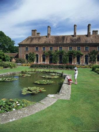 Lily Gardens and Strode House, Barrington Court, Somerset, England, United Kingdom