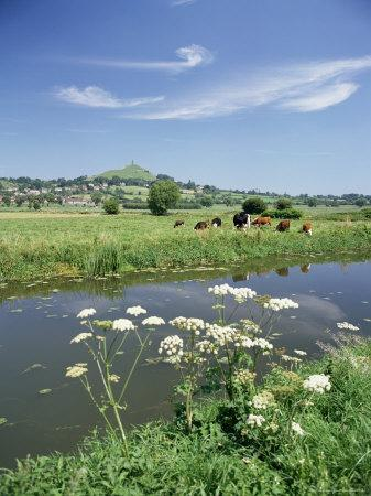 River Brue with Glastonbury Tor in the Distance, Somerset, England, United Kingdom