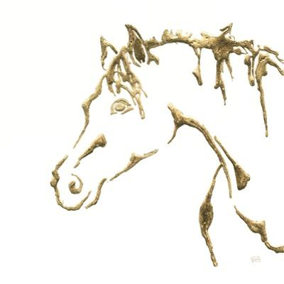 Gilded Cowpony On White by Chris Paschke